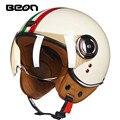 2017 Новое прибытие BEON мотоциклетный шлем Vintage скутер открытым лицом шлем Ретро E-bike helmet ECE утвержден Италии флаг moto каско