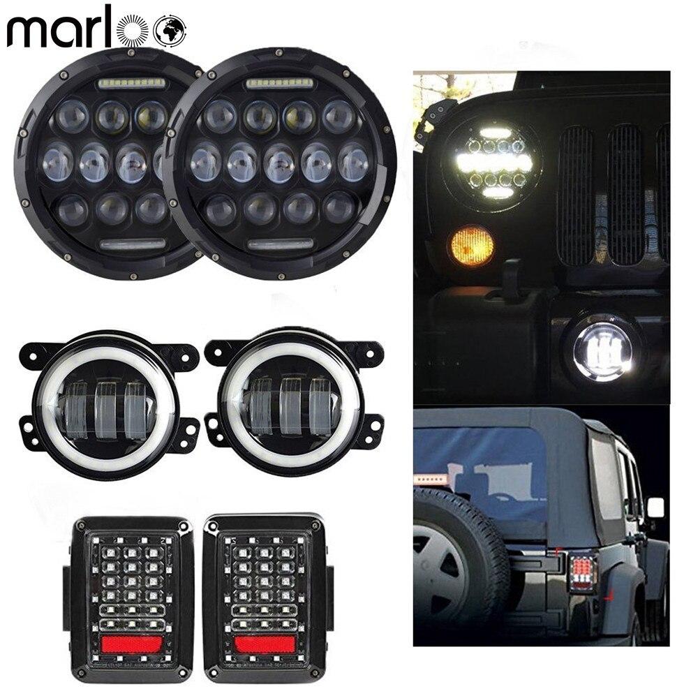 Marloo комбинированный пара 7 дюймов 75 Вт DRL светодиодные фары + 4 дюймов 30 Вт светодиодные противотуманные ближний свет С для Jeep Wrangler JK задние фо