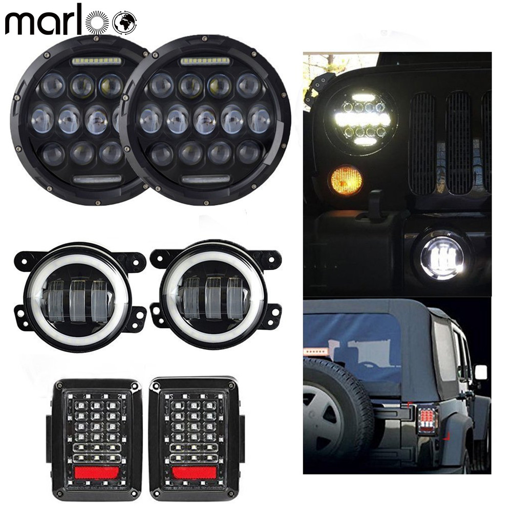 Marloo Combo Set Pair 7 Inch 75W DRL Led Headlight + 4 Inch 30W Led Fog Passing light With For Jeep Wrangler JK Tail Lights 2pcs 7 inch 75w led round headlight offroad car lamp drl hi lo beam 2 x 4 led fog lights combo kit for jeep wrangler jk