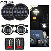 Marloo Combo Set Pair 7 Inch 75W DRL Led Headlight 4 Inch 30W Led Fog Passing