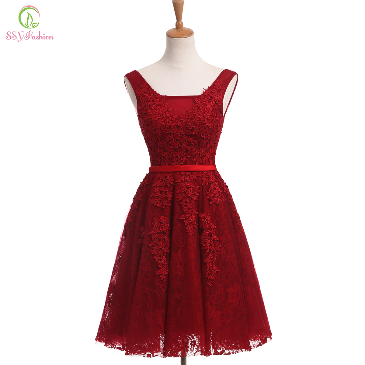 SSYFashion New The Bride Banquet Elegant Lace   Cocktail     Dress   Wine Red V-neck Sleeveless Short Knee-length Formal Party Gown