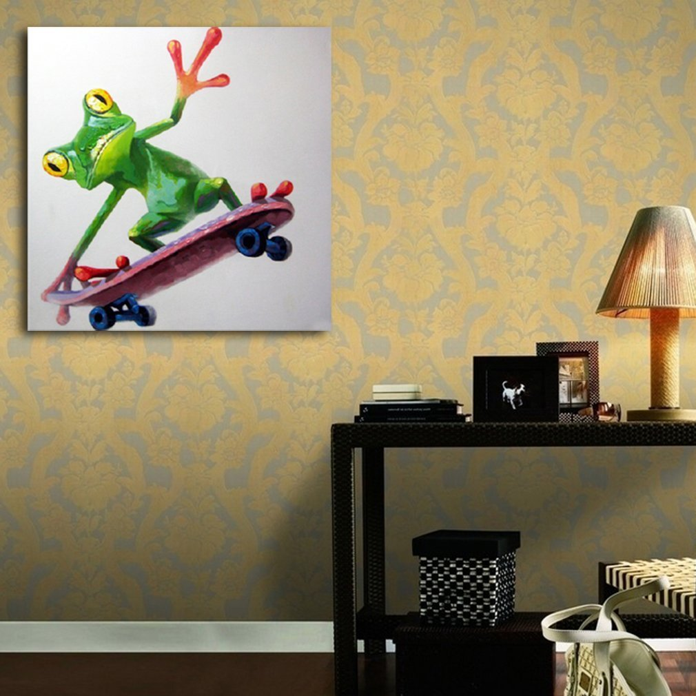 Oil Painting Happy Frog Riding Hand Painted on Canvas Wall Decor ...