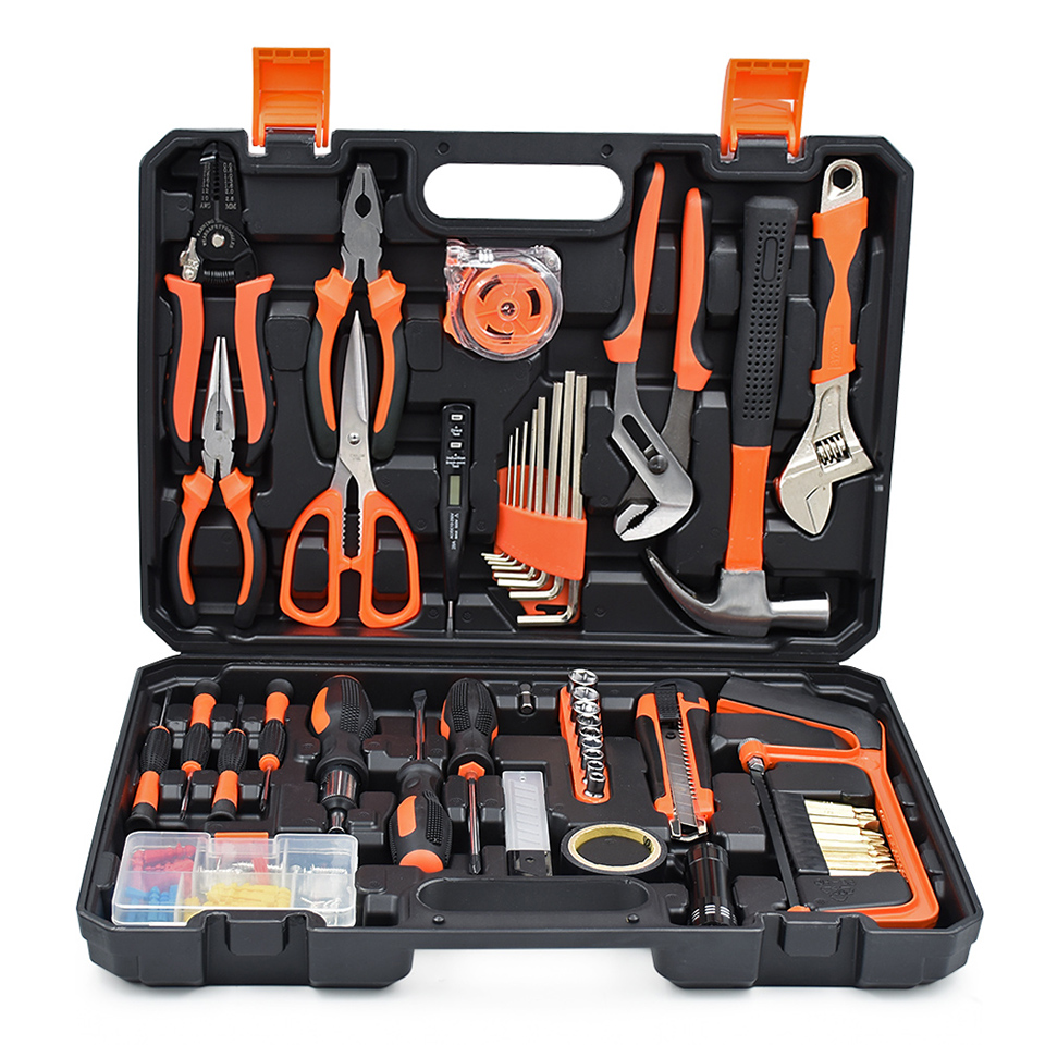120pcs Home Repair Sets Hand Tools Electric Screwdrivers Bits Sets Wrench Pliers Sockets Household Combination Tool Kits Box