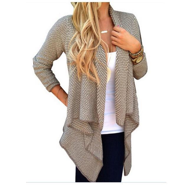 New Spring/Autumn Fashion Women clothing Irregular Cardigan Knit Medium long Coat Casual Long-sleeve Loose Free size Coat NZ05