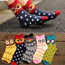 5 pairs lot new fashion Famous OWL 3D cartoon socks comfortable cotton socks women lovely meias