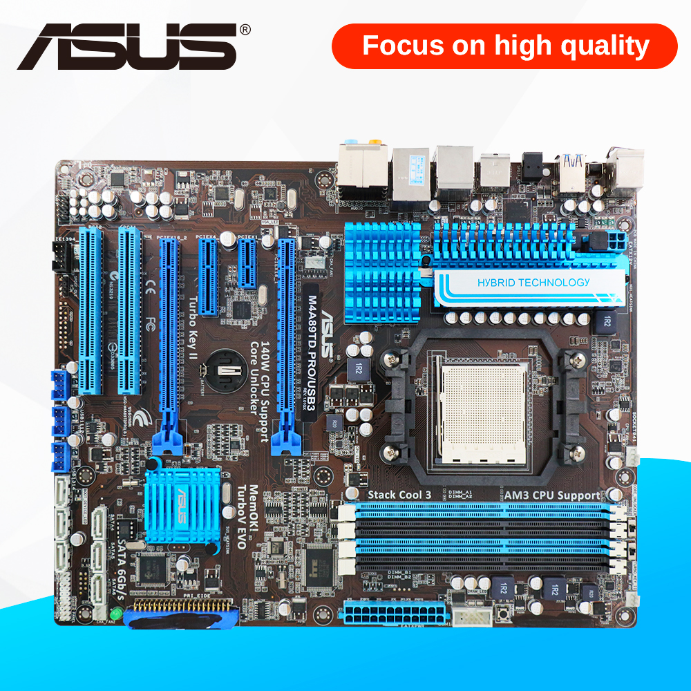 Asus M4A89TD PRO USB3 Desktop Motherboard M4A89TD PRO/USB3 890FX Socket AM3 DDR3 SATA3 USB3.0 ATX gigabyte ga 870a usb3 original used desktop motherboard 870 socket am3 ddr3 sata3 usb3 0 atx