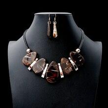 купить New Hot sale Women's Gift Drop Earrings Jewelry Set Vintage Ellipse Marble Pattern Necklace Earrings Set Accessory онлайн