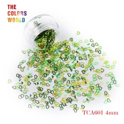 Tct-050 полые сердца Форма Лазерная красочные Глиттеры для ногтей 4 мм Размеры для ногтей Гели для ногтей украшения Макияж facepaint DIY украшения - Цвет: TCA601  50g