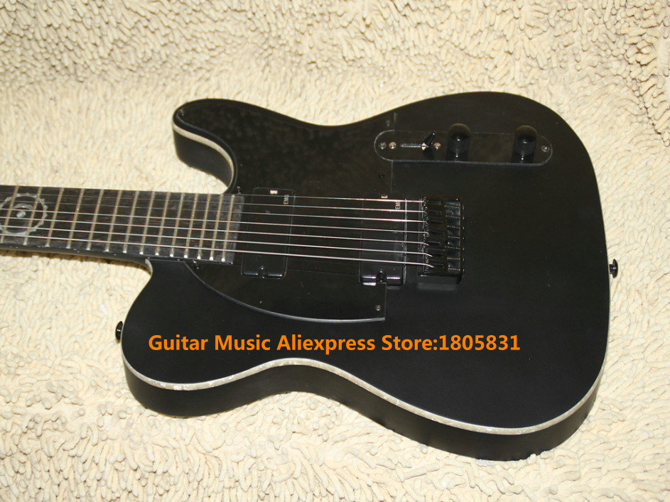 black 7 strings ebony fingerboard electric guitar one piece neck 24 frets guitars free shipping. Black Bedroom Furniture Sets. Home Design Ideas