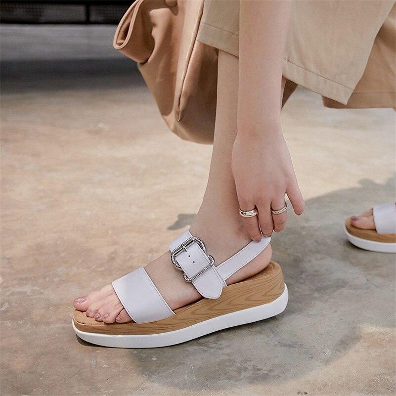 Cómodo Sandalias Mujer De Zapatos Clásico 2019 Verano Verde Casuales Mujeres Genuino Hebilla Nueva Básicos Conasco Cuero blanco Las amarillo Transpirable Xqx6nX