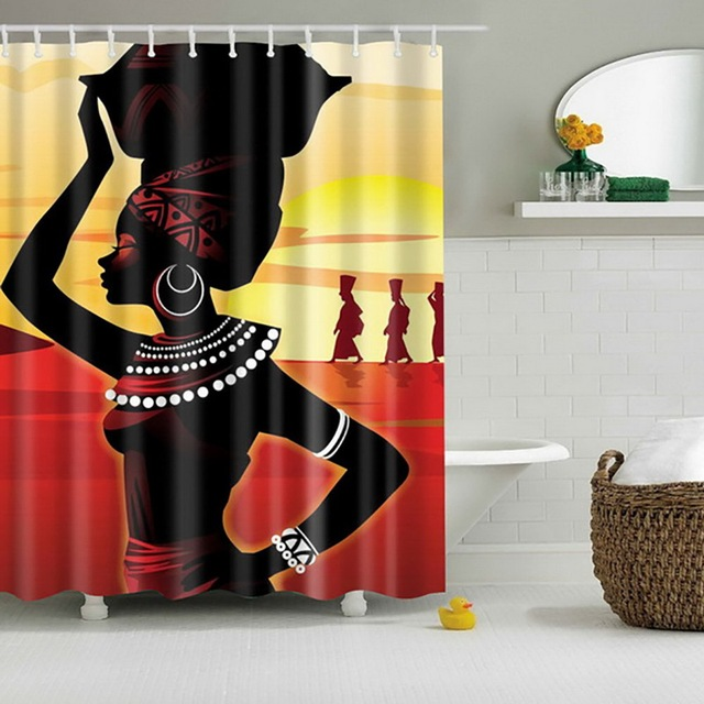 Newest High Quality Bathroom Waterproof Beach African Woman Shower Curtain With 12pcs Hooks Rings Bathing