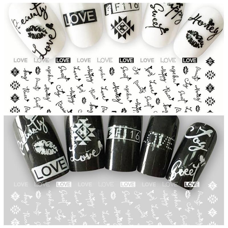 1 Blatt 3d Schwarz Weiß Liebe Honig Englisch Brief Muster Kleber Nail Art Aufkleber Dekorationen Diy Salon Tipps F116 # VerrüCkter Preis