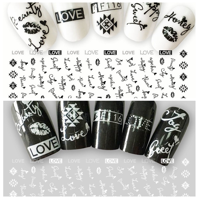 1 Sheet 3D Black White Love Honey English Letter Pattern Adhesive Nail Art Stickers Decorations DIY