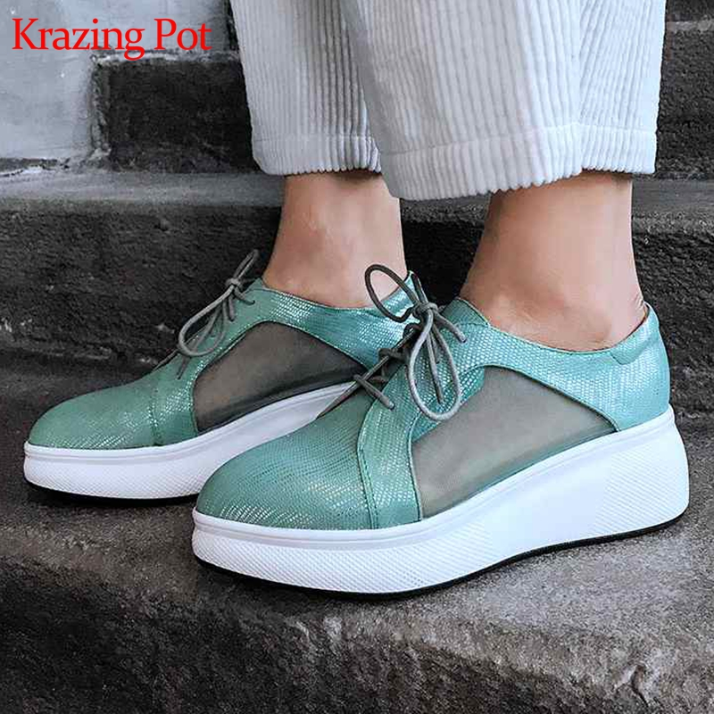 Krazing Pot sheep leather breathable air mesh wedges platform pointed toe sneakers summer fashion lace up