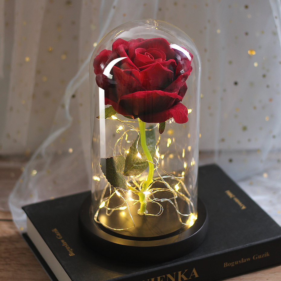 LED Eternal Flower Immortal Flora Light Up Dome Beauty and The Beast Rose In A Flask Valentine's Day Birthday Christmas Day Gift - Цвет: 087