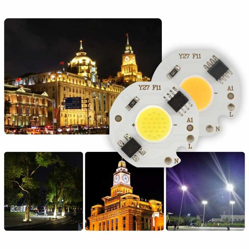 LED 3W 5W 7W 9W COB ชิปโคมไฟ 220V สมาร์ท IC ไม่จำเป็นต้องขับรถ LED หลอดไฟสำหรับไฟน้ำท่วม Spotlight DIY โคมไฟเย็นสีขาวอุ่นสีขาว