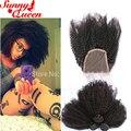 8А Afro Kinky Вьющиеся Монгольский Девы Волос С Закрытием 4 Шт. Kinky Вьющиеся Девы Волос С Кружевом Закрытие 3 Связки С закрытие