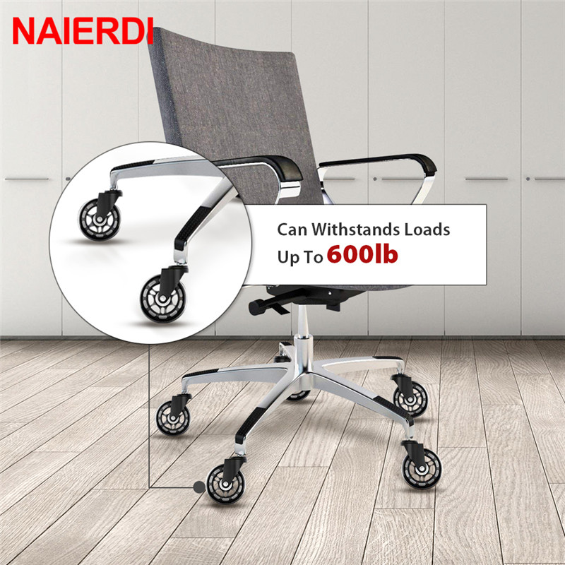 Image 5 - NAIERDI 5PCS Swivel Rubber Caster Wheels 3 Inch Office Chair Caster Wheels Replacement 60KG Soft Safe Rollerblade Style Caster-in Casters from Home Improvement