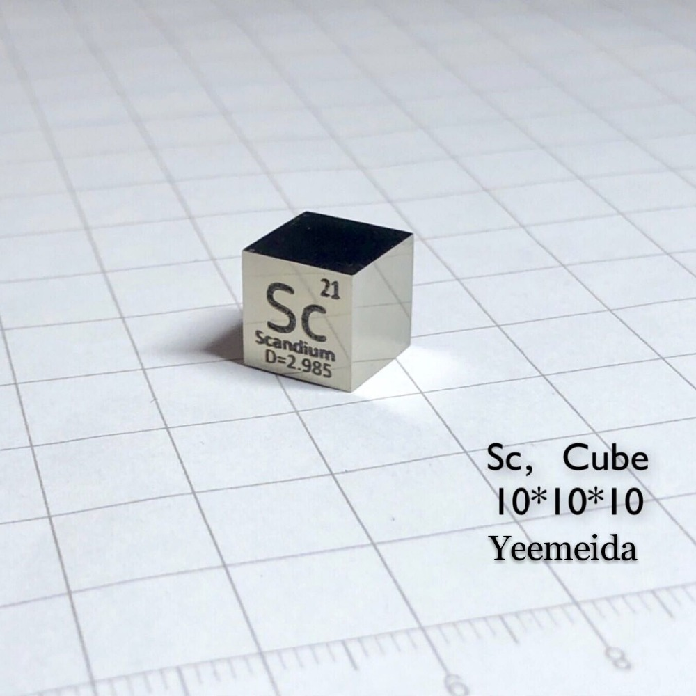 MIRROR POLISHED Scandium Sc Metal 10mm Density Cube 99 9 Pure for Element Collection