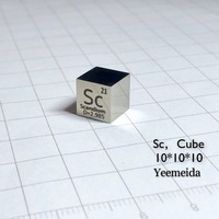 MIRROR POLISHED Scandium (Sc) Metal 10mm Density Cube 99.9% Pure for Element Collection