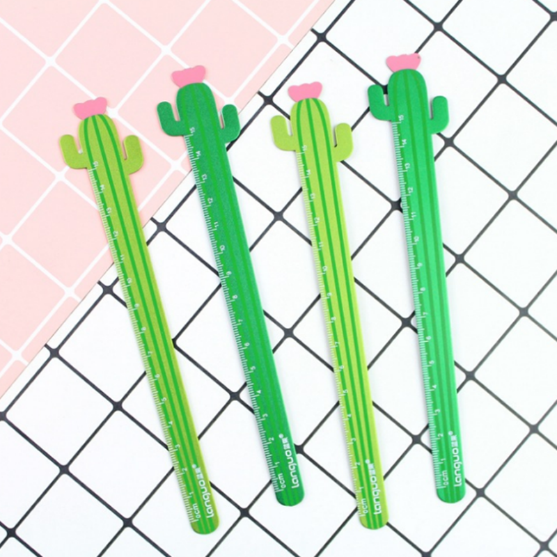 1 Pcs Cute 15 Cm Creative Cactus Flower Rulers Measuring Straight Ruler Tool Gift Stationery