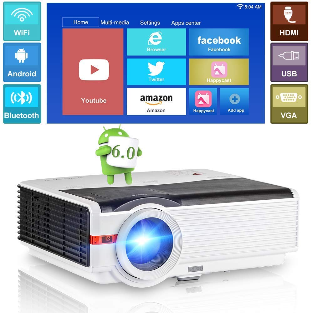 CAIWEI font b Android b font LED Projector Home Cinema Mobile WIFI Proyector Multimedia 5000LM Bluetooth