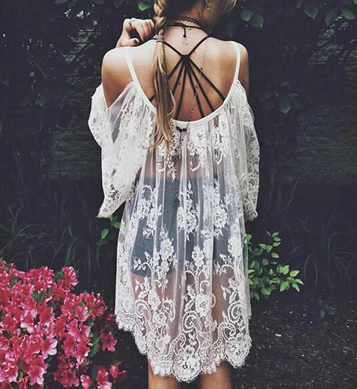 2019 décontracté blanc Sexy mode Vintage Hippie Boho personnes brodé Floral dentelle Crochet beauté Mini robe 50