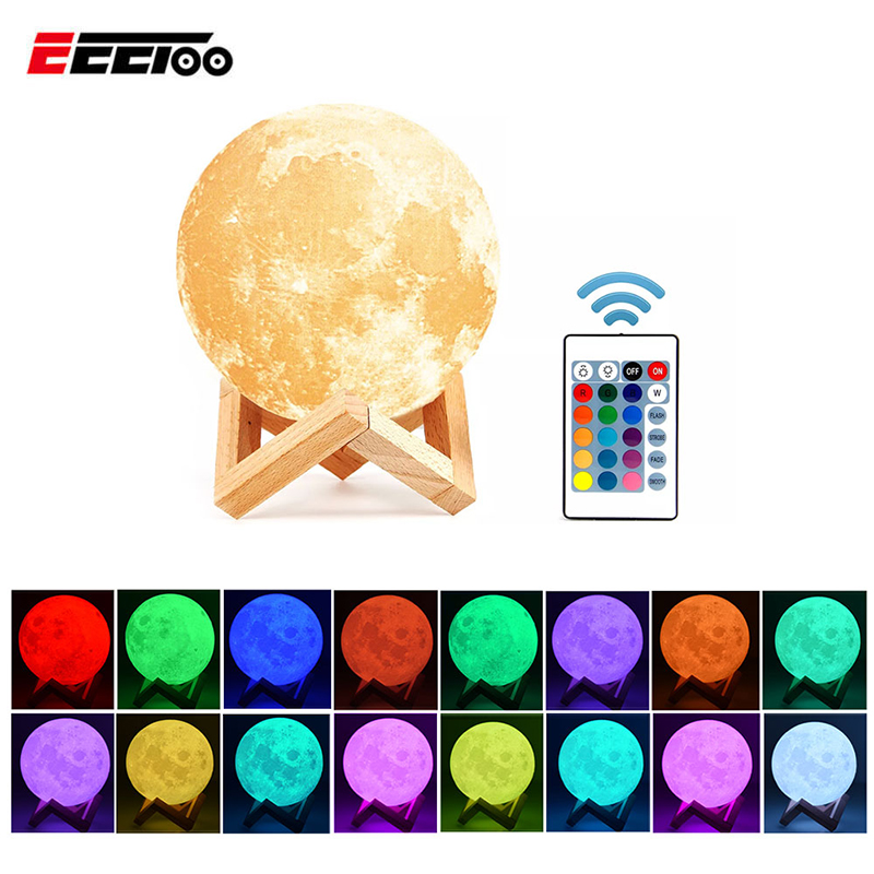 Rechargeable 3D Print LED Moon Light 16Colors With Remote Controller Touch Switch Bedroom Night Light Home Decor Creative Gift