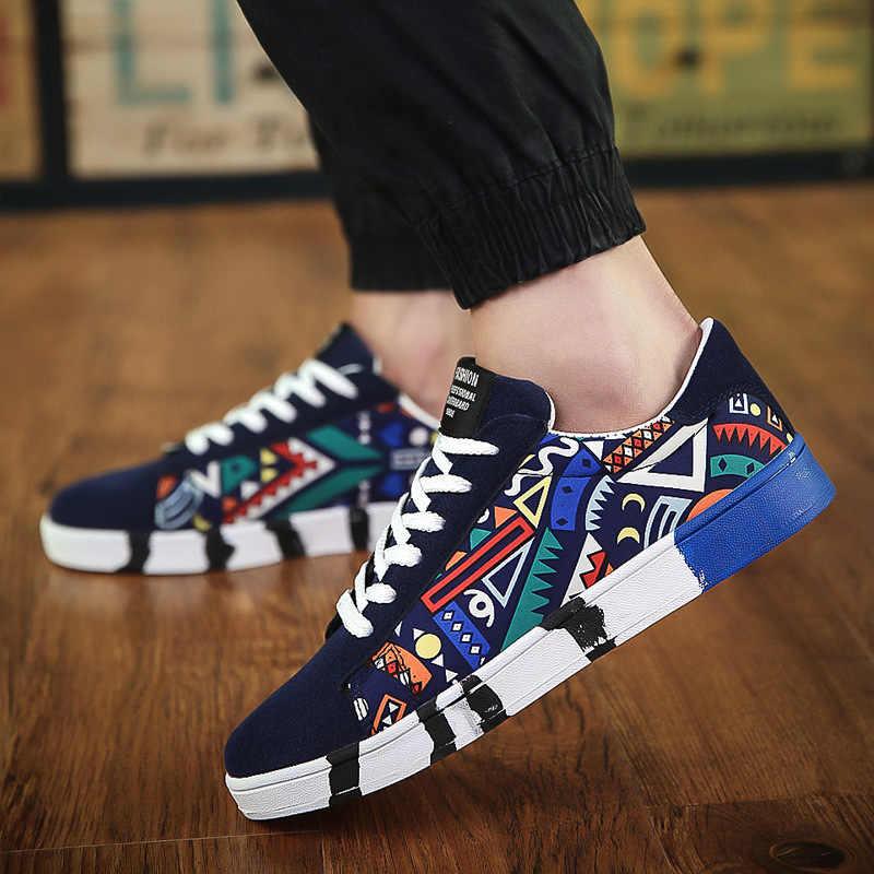 2018 Sonbahar Sıcak Erkekler Sneakers Moda Tuval rahat ayakkabılar Erkekler Lace up düz ayakkabı Açık Erkek vulkanize ayakkabı Tenis Ayakkabıları