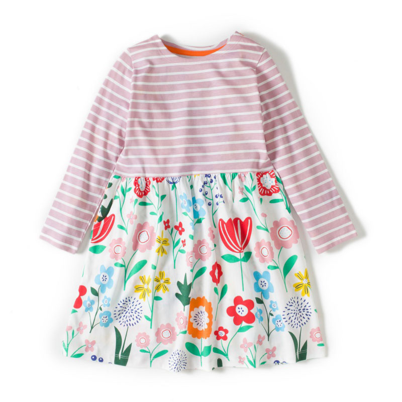 2018 Sweet Girls Dress Clothing Cute Cartton Dinosaur And Flower Two Kinds Printing Cotton Children Dresses 2~6Y G9