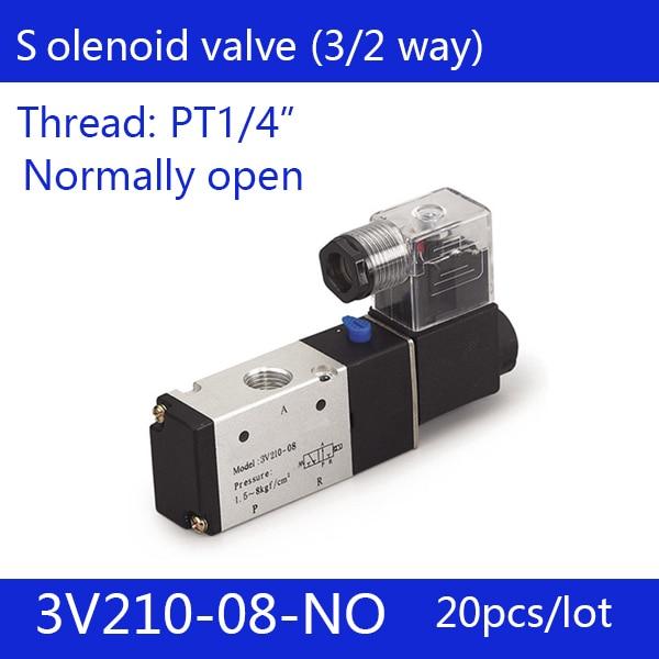 20PCS Free shipping good qualty 3 port 2 position Solenoid Valve 3V210-08-NO normally open,have DC24v,DC12V,AC110V,AC220V 2pcs free shipping good qualty 3 port 2 position solenoid valve 3v110 06 nc normally closed 3 2way 1 8 dc12v dc24v ac220v