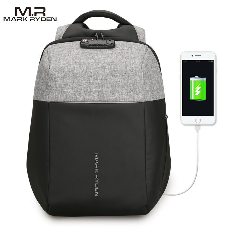 MARK RYDEN New Anti-thief Design USB Recharging Backpack Customs Lock Design Men Fashion Backpack Start to sell from Nov 11