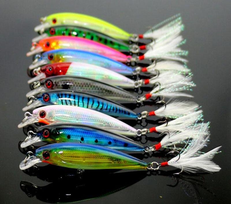 100Pcs Minnow Fishing Lure Swim Hard Bait Artificial Plastic Feather wobbler Bait Crankbait Fishing Tackle 9cm