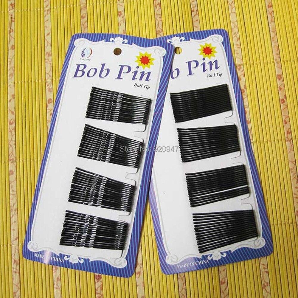 48 Pcs LONG LARGE BLACK BOB HAIR GRIPS CLIPS PINS WAVED / Straight SLIDES Random