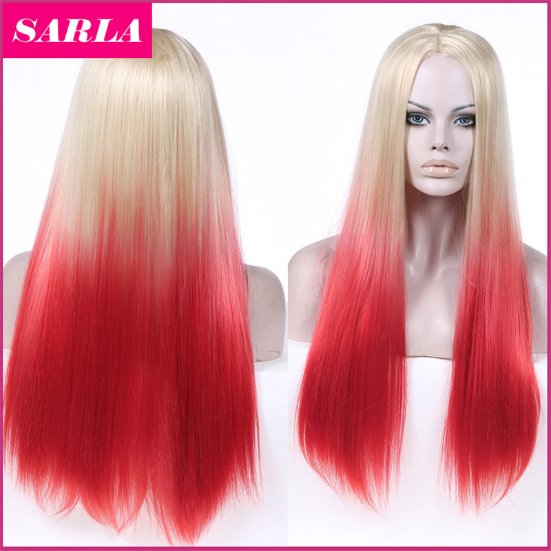 1PC Synthetic Ombre Wig Straight Hair Wigs 2 Tones Heat Resistant Natural Fashion Long
