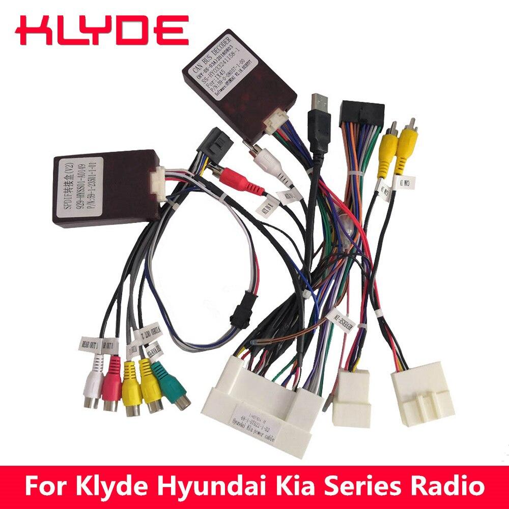 Klyde мощность жгут с Canbus блок декодера для KIA автомобиль Hyundai радио Поддержка оригинальный усилители домашние и сзади камера руль
