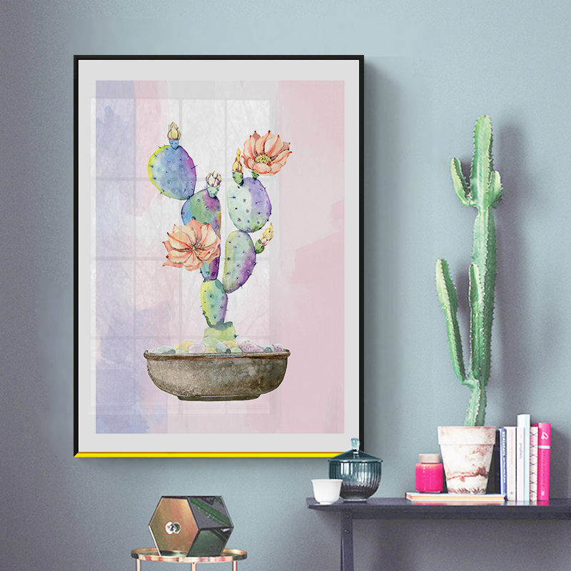 ZeroC Watercolor Green Plant Flowers Cactus Posters Succulent Nordic Style Garden Wall Art Pictures Living Room Decor Canvas in Painting Calligraphy from Home Garden