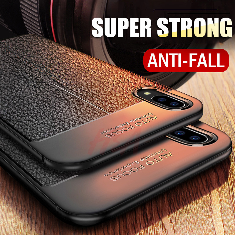 H&A Soft Cases For iPhone 7 6s X Silicone Black Dirt Resistant Cover Case For iPhone 6 6S 7 8 Plus Case Luxury Litchi Leather