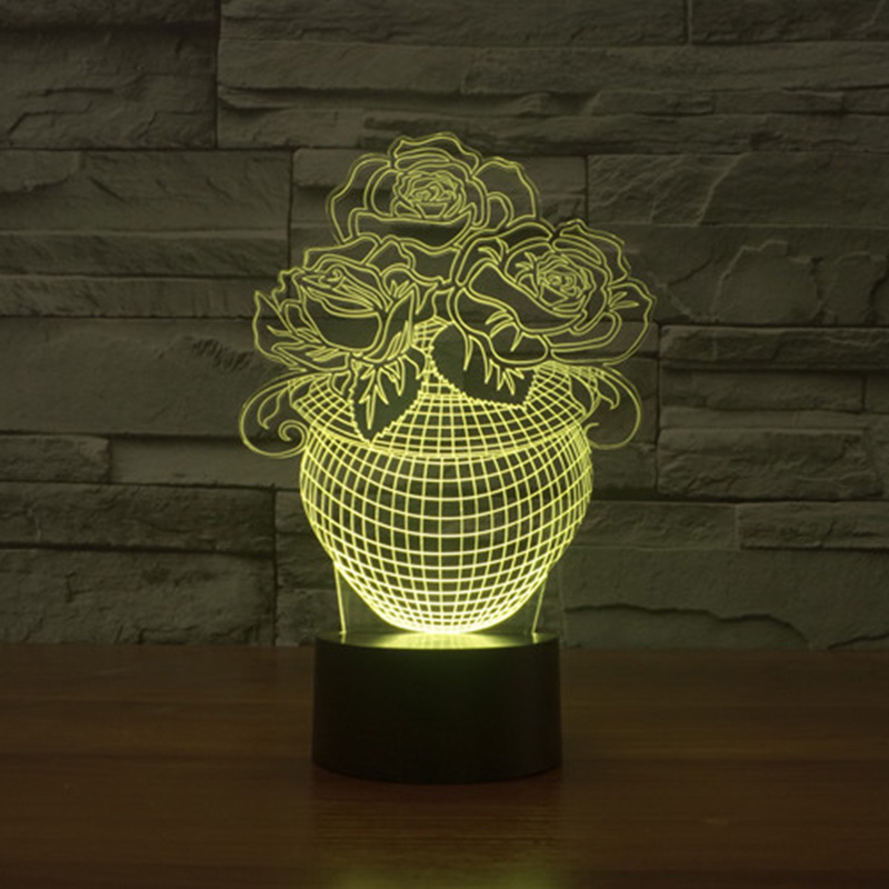 Acrylic 7 Color Changing Rose Flower 3D LED nightlight of bedroom lamp livingroom lights desk table Decor Night Light Kid Gift