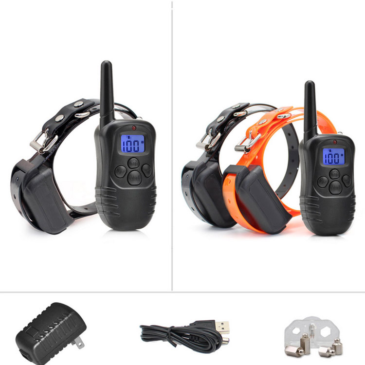 Pet Train Collar Waterproof Rechargeable Remote LCD Electric Dog Training Shock Collar US PLUG collar perro Black in Training Collars from Home Garden