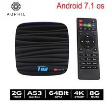 Set top box T98 RK3328 Quad Core 4 K Android 7.1 Smart TV BOÎTE 2G/8G WIFI KODI DLNA Google HDMI TV Media Player À Distance Livraison le bateau