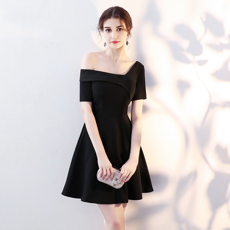 Sexy Women Off Shoulder Little Black Dress Elegant Slim A-Line Evening Gowns Girls Celebrity Birthday Party Dresses XS-XXL