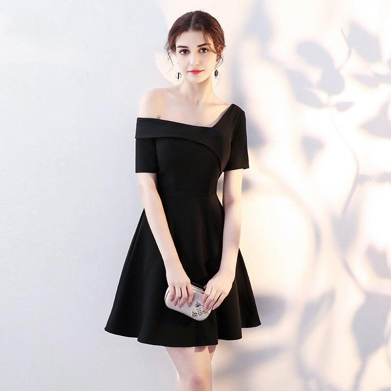 Sexy femmes épaule dénudée petite robe noire élégante Slim a-ligne robes de soirée filles célébrité fête d'anniversaire robes XS-XXL