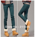Hot 2013 new women's skinny waist zipper plus thick velvet warm colored pencil rendering jeans wholesale rivets F517