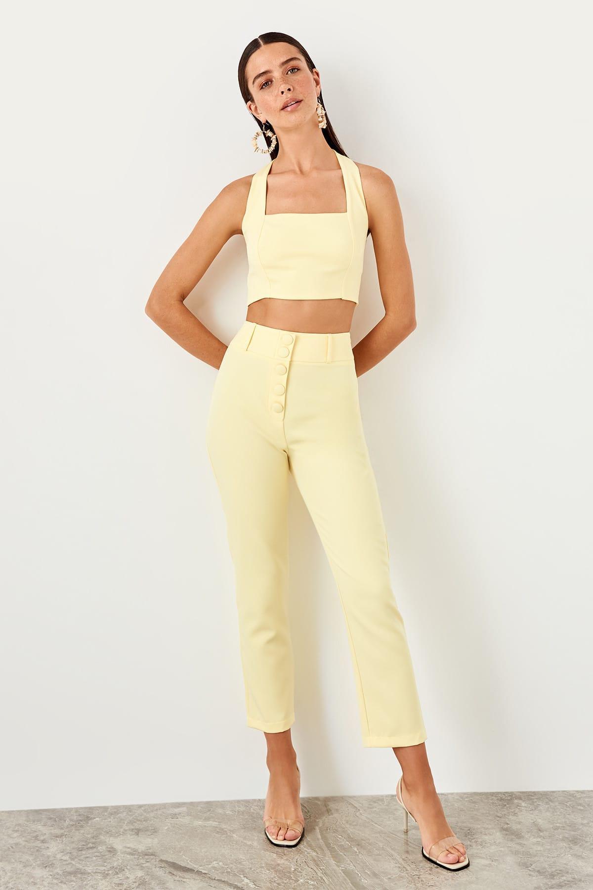 Trendyol Yellow Flare Pants TWOSS19WX0086