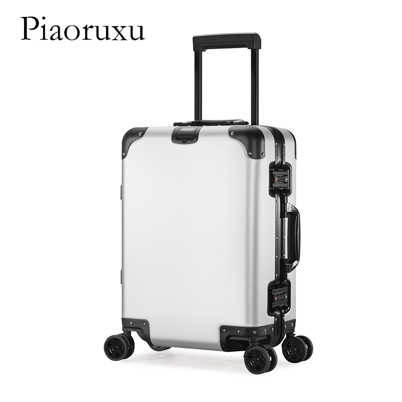 Pure metal full magnesium aluminum alloy suitcase rolling luggage for men and women 20/26/29 inch trolley case boarding luggage 20 25 29 aluminum magnesium alloy metal luggage fashion spinner rolling suitcase business aluminum frame luggage