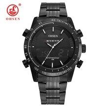2017 OHSEN Reloj de Pulsera Militar Deportes Hombres de Moda A Prueba de agua LLEVÓ la Luz de Fondo de Múltiples Funciones Análogo-Digital de Cuarzo Relogio