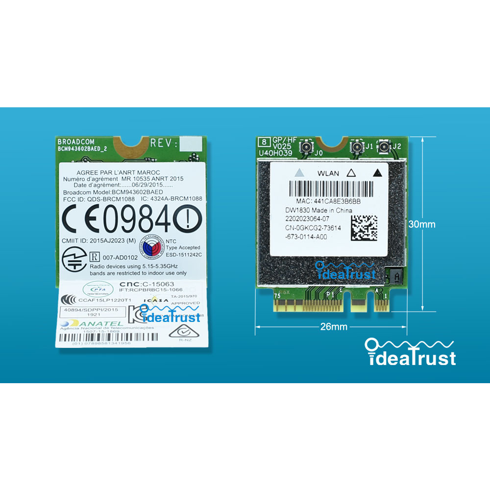 BCM943602BAED DW1830 ac NGFF 1300Mbps BT4.1 0HHKJD HHKJD WiFi Wireless Network Card better than BCM94352Z DW1560 support mac os brand new for intel 7265ngw bn wireless n 7265 ngff wireless wifi card laptop network wlan adapter fru 04x6032 for ibm lenovo