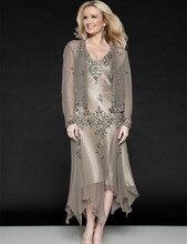 Heißer Verkauf V-ausschnitt Volle Hülse Mutter Der Braut Kleider Kappen-hülsen Abendkleid Abendkleider