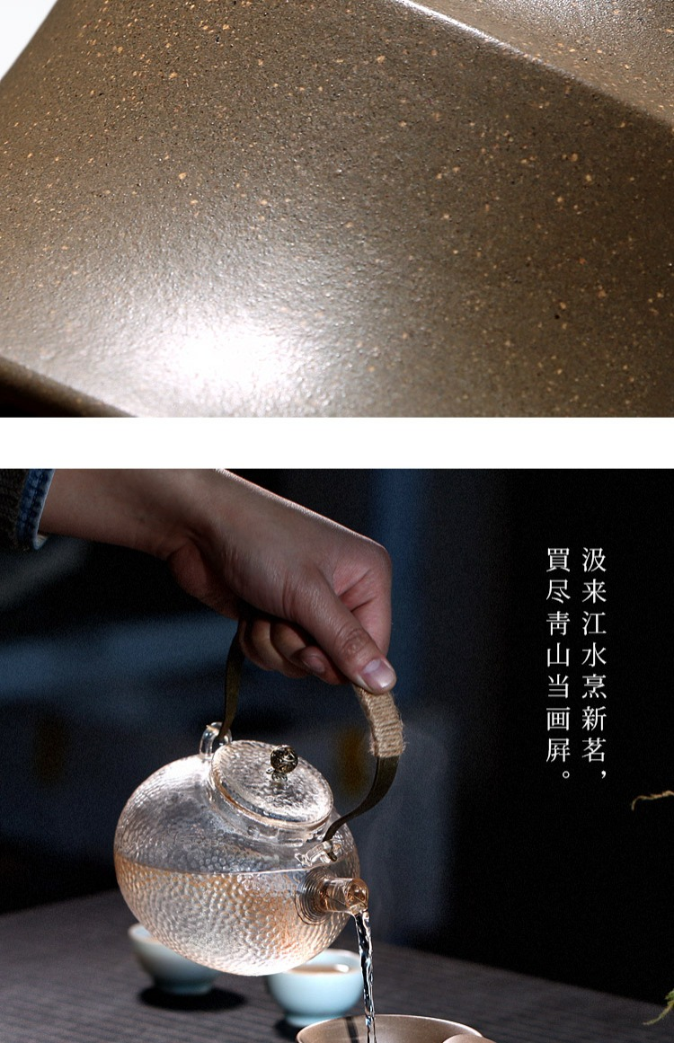 Чайник разделенный Рудно-фиолетовая ареновая супница старый зеленый период из трех до чаши литератов, фиолетовый песок Чайные чашки